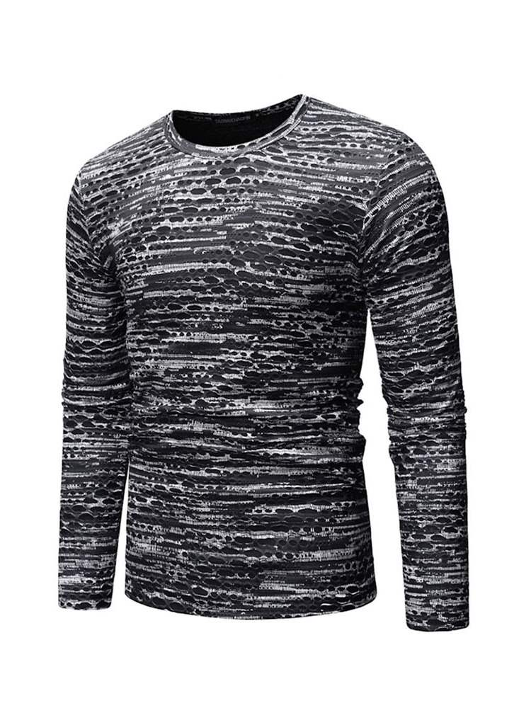 Ericdress Striped Printed Round Neck Mens Long Sleeve T-shirt