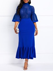 Ericdress Mid-Calf Ruffles Half Sleeve Mermaid Blue Dress thumbnail
