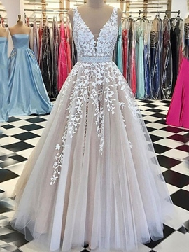 Ericdress Sleeveless V-Neck A-Line Appliques Wedding Dress