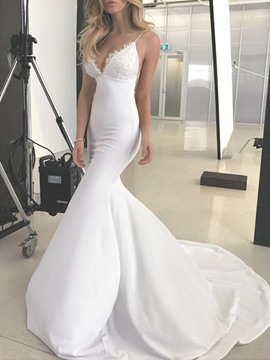 Ericdress Spaghetti Straps Mermaid Lace Backless Wedding Dress