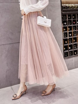 Ericdress Mesh Pleated Ankle-Length Fashion High-Waist Skirt