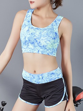 Ericdress Breathable Color Block Sleeveless Sports Sets