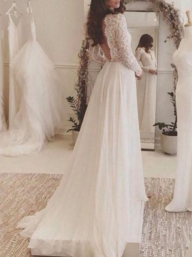 Ericdress Deep V-Neck Lace Long Sleeves Wedding Dress