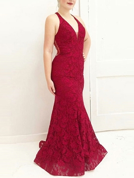 Beading Sleeveless Floor-Length Lace Evening Dress