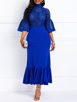 Ericdress Mid-Calf Ruffles Half Sleeve Mermaid Blue Dress