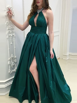 Ericdres Pleats A-Line Floor-Length Prom Dress 2019
