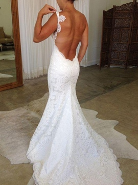 Ericdress Spaghetti Straps Lace Backless Wedding Dress