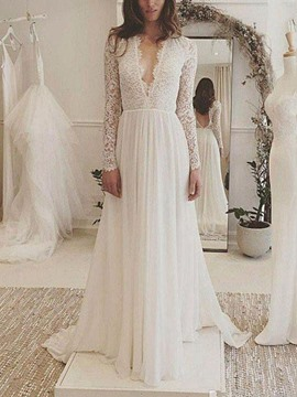 Ericdress A-Line Lace Long Sleeves Hall Wedding Dress