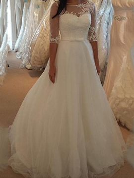 Ericdress Half Sleeves Applique Outdoor Wedding Dress
