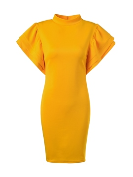 Ericdress Cap Sleeve Stand Collar Above Knee Plain Yellow Dress