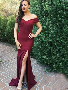 Off-The-Shoulder Split-Front Sheath Evening Dress