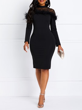 Ericdress Long Sleeve Feather Patchwork Above Knee Date Night Dress