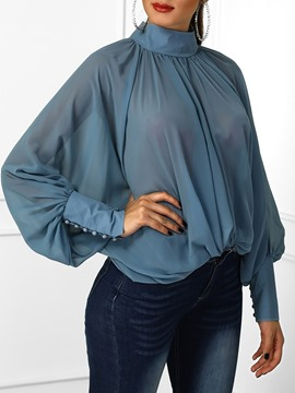 Ericdress Turtleneck Plain See-Through Standard Blouse