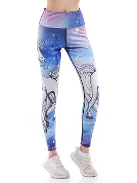 Pantalones de yoga con estampado animal unicornio transpirable ericdress