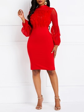 Ericdress See-Through Long Sleeve Knee-Length Lantern Sleeve Red Dress