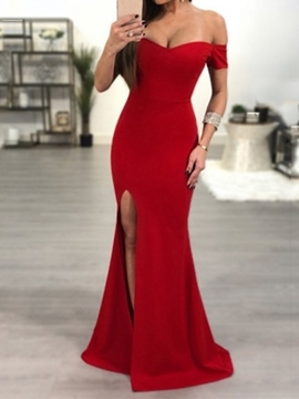 Ericdress Off-The-Shoulder Split-Front Short Sleeves Evening Dress 2019