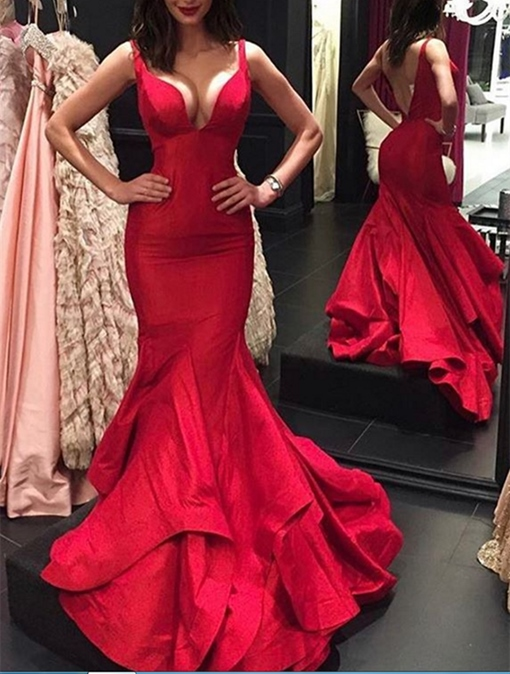 Ericdress Deep V Neck Backless Mermaid Evening Dress