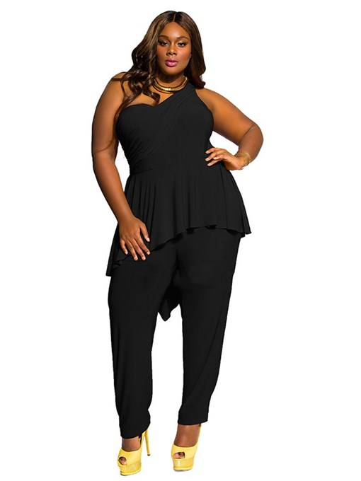 Ericdress Plus Size Falbala Casual Plain Slim High Waist Jumpsuit