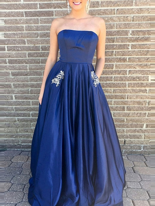 A-Line Crystal Sleeveless Strapless Prom Dress