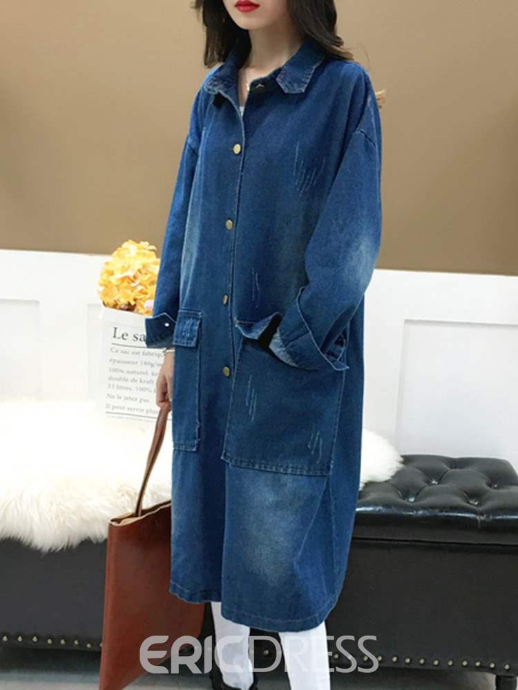 Ericdress Single-Breasted Hooded Long Long Sleeve Casual Trench Coat