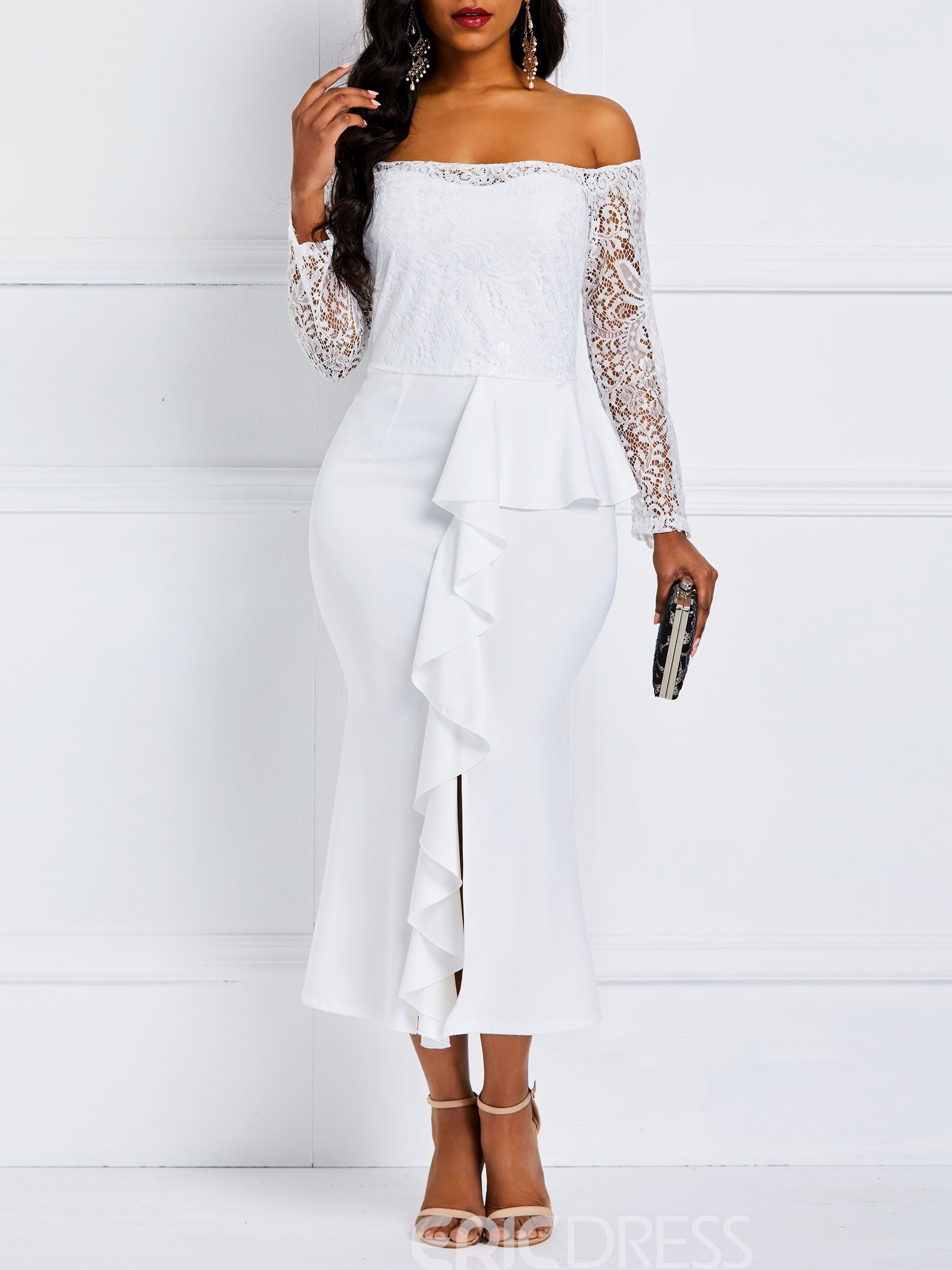 Ericdress Long Sleeve Mid-Calf Lace Ruffle Party Dress