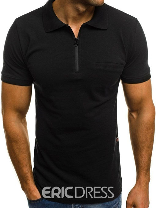 Ericdress Casual Plain Polo Neck Mens Loose T-shirt