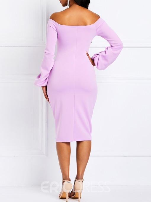 Ericdress Long Sleeve Knee-Length Off the Shoulder Party Dress