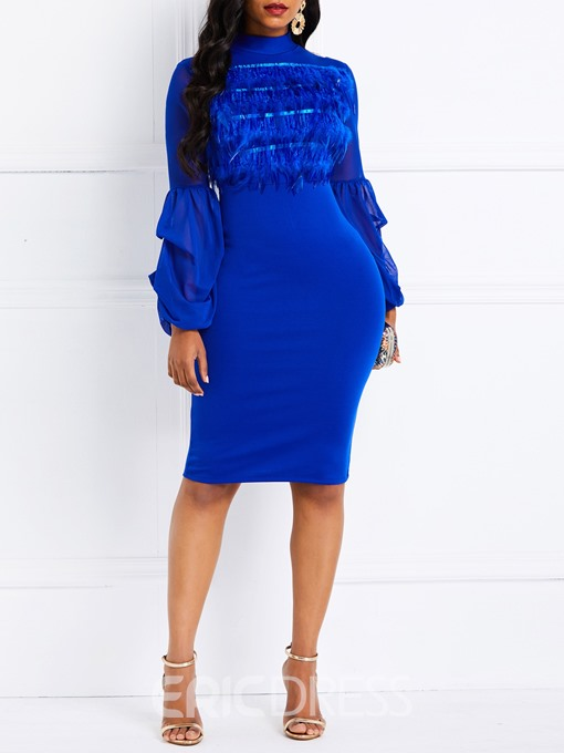 Ericdress Feather Long Sleeve Knee-Length Lantern Sleeve Blue Dress