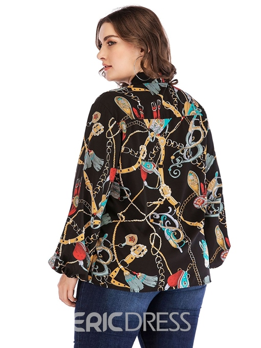 Ericdress Print Lantern Sleeve Plus Size Blouse