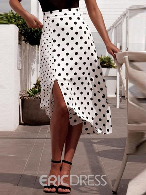 Ericdress Asymmetrical Polka Dots Mid-Calf Fashion High-Waist Skirt