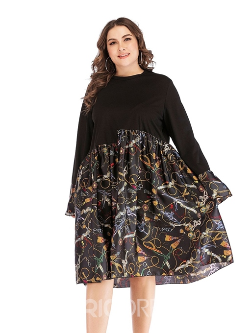 Ericdress Plus Size Patchwork Mid-Calf Round Neck Regular A-Line Dress