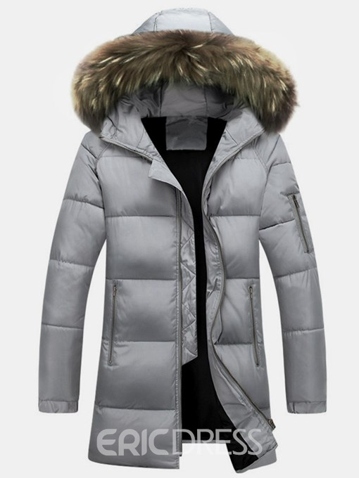 Ericdress Plain Fur Hooded Thick Mid-Length Mens Down Coats