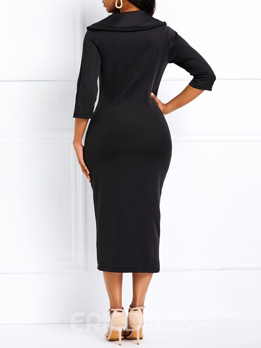 Ericdress Mid-Calf Nine Points Sleeve Split Casual Single-Breasted Black Dress