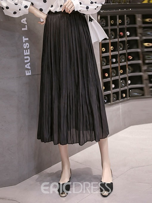 Ericdress A-Line Pleated Elastic Waist Women's Skirt
