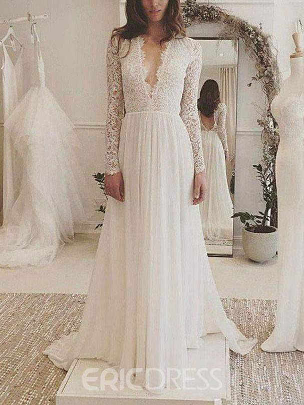 Ericdress Deep V-Neck Lace Long Sleeves Wedding Dress 2019