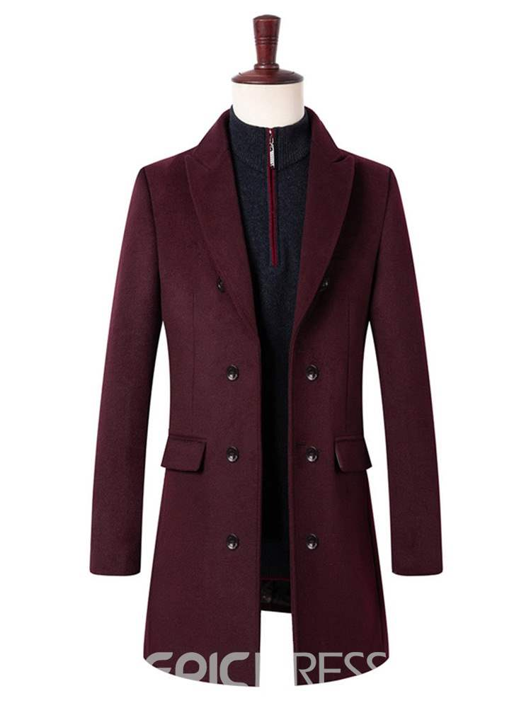Ericdress Plain Notched Lapel Mens Casual Wool Coat