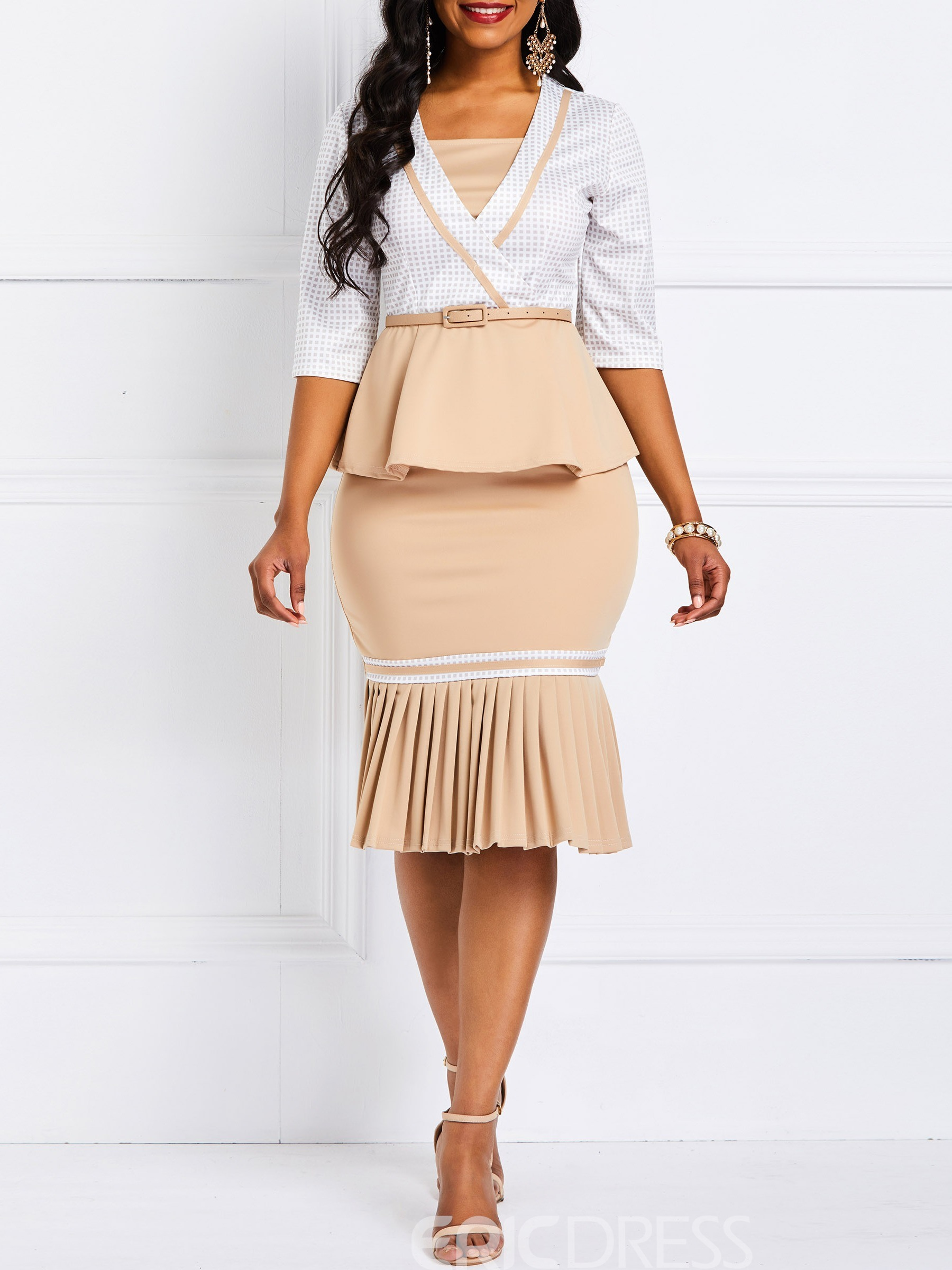 Ericdress Color Block OL Patchwork Pleated Two Piece Sets