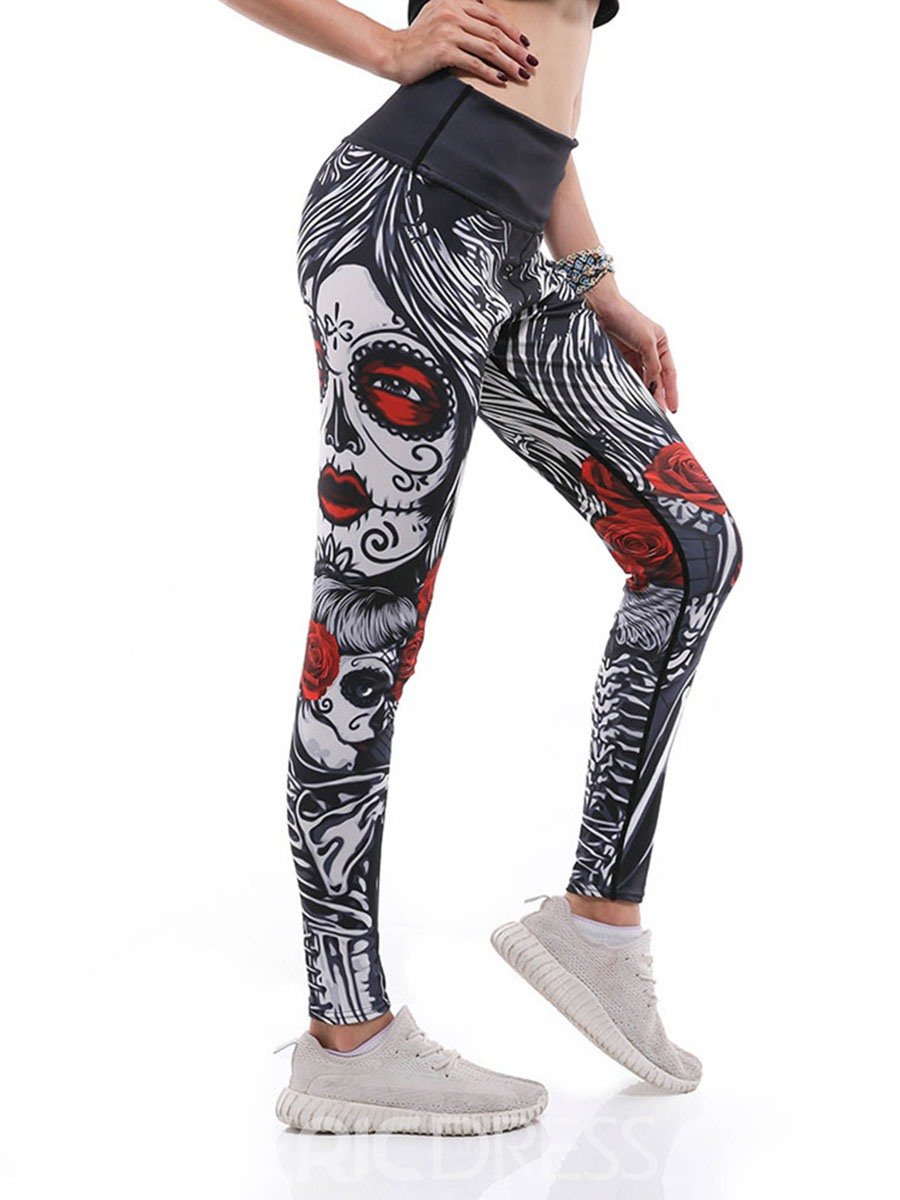 Ericdress Women Print Cartoon Anti-Sweat Gym Sports Yoga Pants