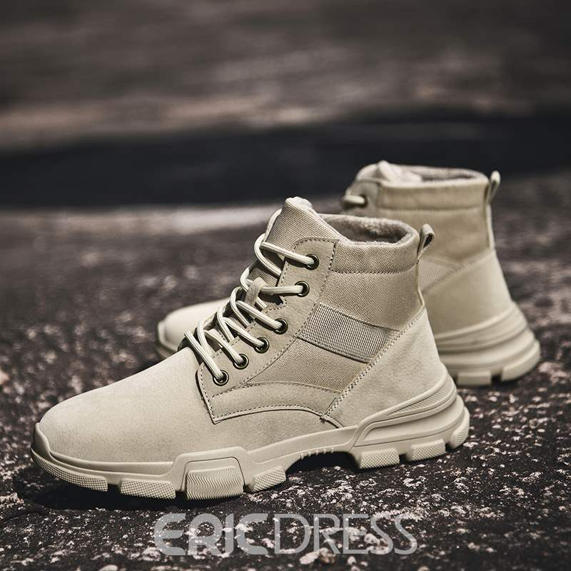 Ericdress Lace-Up Front Round Toe Patchwork Men's Boots