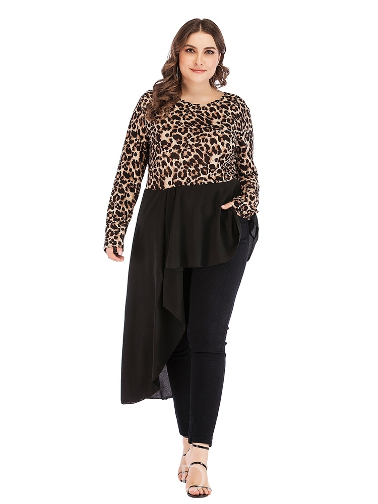 Ericdress Asymmetric Leopard Plus Size Blouse