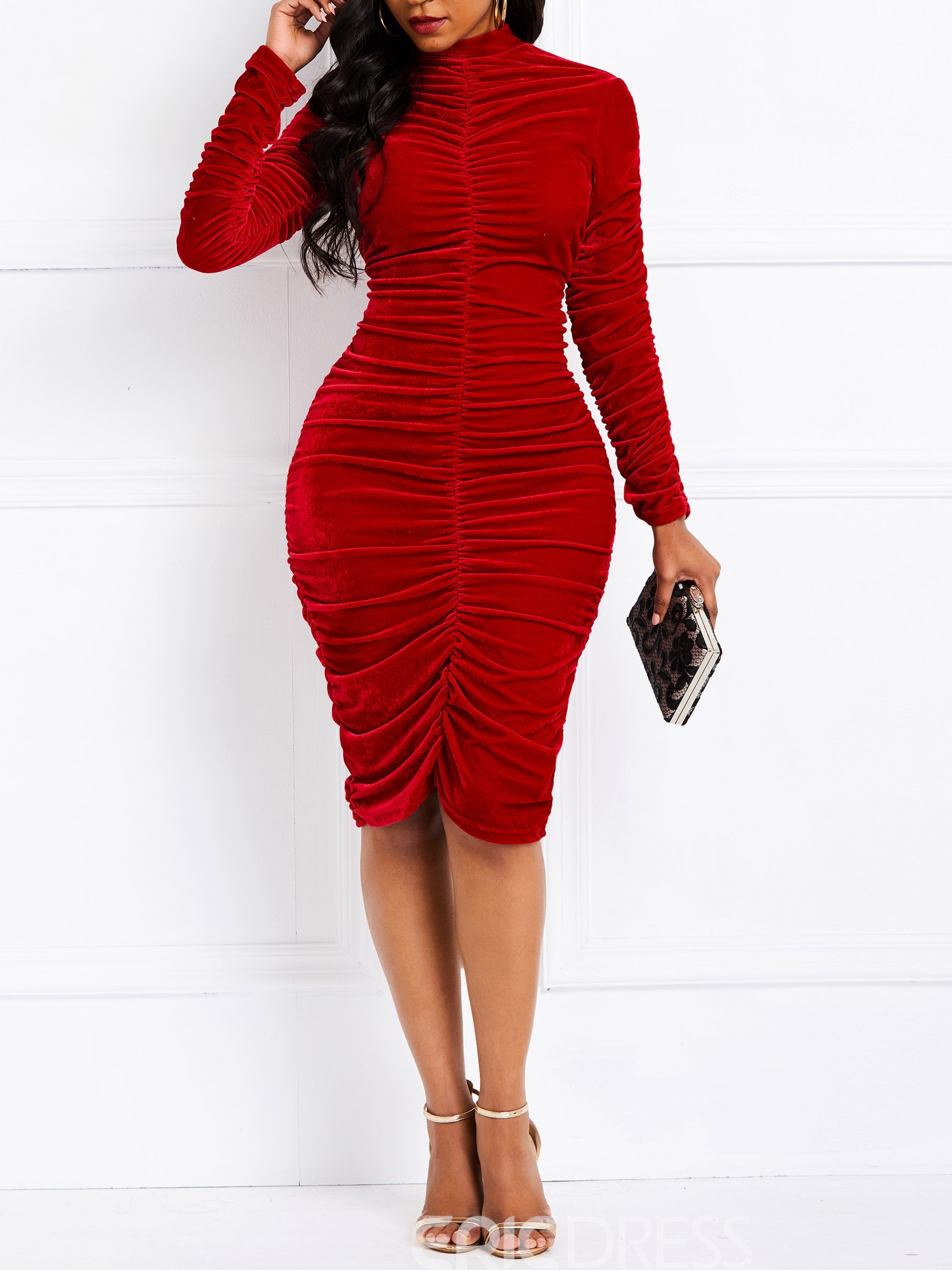 Ericdress Long Sleeve Knee-Length Pleated Bodycon Dress