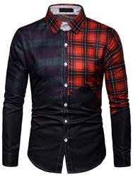Ericdress Patchwork Plaid Printed Lapel Mens Casual Shirt  - buy with discount