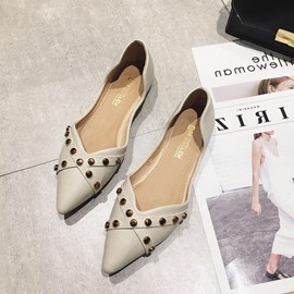 Ericdress Block Heel Rivet Pointed Toe Women's Flats
