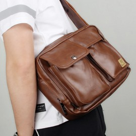 Ericdress Plain PU Thread Square Men's Crossbody Bags