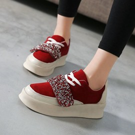Ericdress Velcro Round Toe Sequin Platform Women's Sneakers