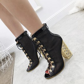 Ericdress Back Zip Peep Toe Patchwork Cross Strap Women's Ankle Boots