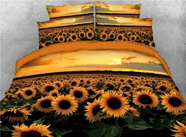 Sunflower Tencel Cotton Duvet Cover Set Reactive Printing Four-Piece Set