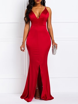 Ericdress Spaghetti Strap V-Neck Sexy Mermaid Red Dress