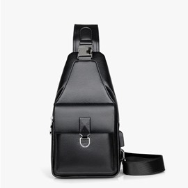 Ericdress Plain Thread PU Rectangle Men's Crossbody Bags
