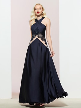 Ericdress Floor-Length A-Line Halter Lace Prom Dress